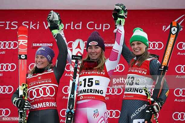Tessa Worley of France takes 2nd place Mikaela Shiffrin of USA takes 1st place Manuela Moelgg of Italy takes 3rd place during the Audi FIS Alpine Ski...