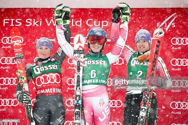 Tessa Worley of France takes 2nd place Mikaela Shiffrin of USA takes 1st place Viktoria Rebensburg of Germany takes 3rd place during the Audi FIS...