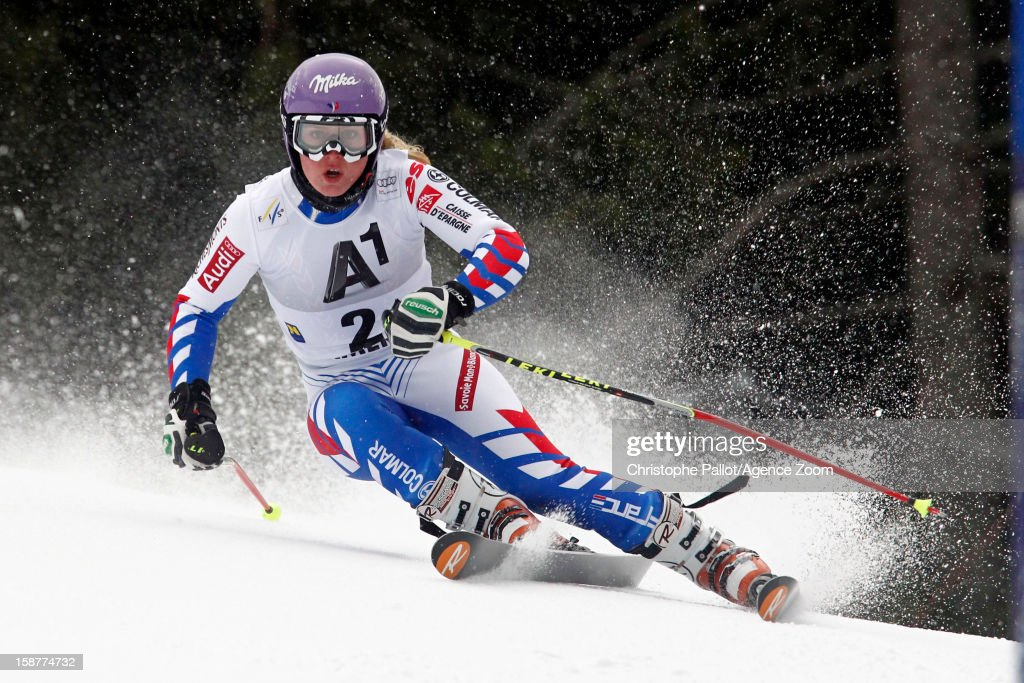 <a gi-track='captionPersonalityLinkClicked' href=/galleries/search?phrase=Tessa+Worley&family=editorial&specificpeople=855344 ng-click='$event.stopPropagation()'>Tessa Worley</a> of France takes 3rd place during the Audi FIS Alpine Ski World Cup Women's Giant Slalom on December 28, 2012 in Semmering, Austria.