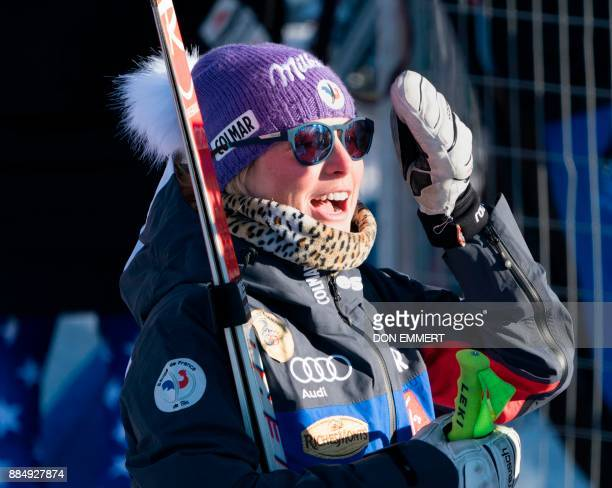 Tessa Worley of France talks with reporters after her fourth place finish during the FIS Ski World Cup Women's Super G on December 3 2017 in Lake...