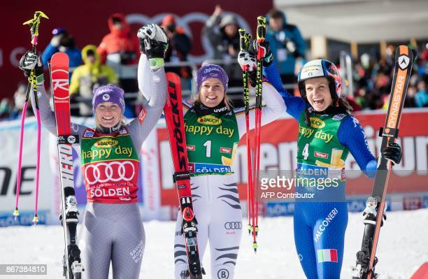 Tessa Worley of France Viktoria Rebensburg of Germany and Manuela Moelgg of Italy celebrate after the women's Giant Slalom event of the FIS ski World...