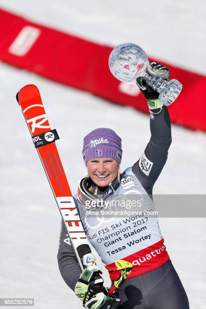 Tessa Worley of France wins the globe in the overall standings during the Audi FIS Alpine Ski World Cup Finals Women's Giant Slalom and Men's Slalom...