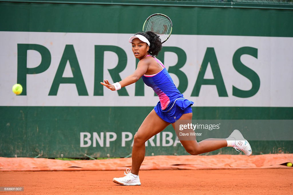 Tessah Andrianjafitrimo during the Women's Singles first round on day three of the French Open 2016 at Roland Garros on May 24, 2016 in Paris, France.
