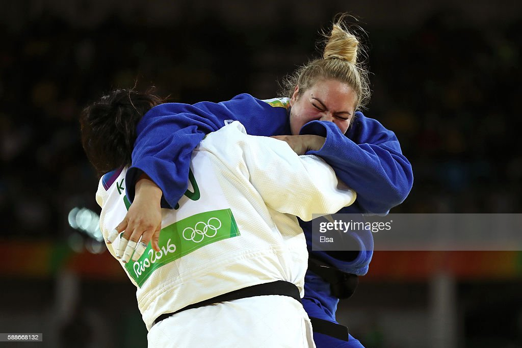 Tessie Savelkouls of the Netherlands competes against Kanae Yamabe of Japan during the Women's 78kg Judo contest on Day 7 of the Rio 2016 Olympic...