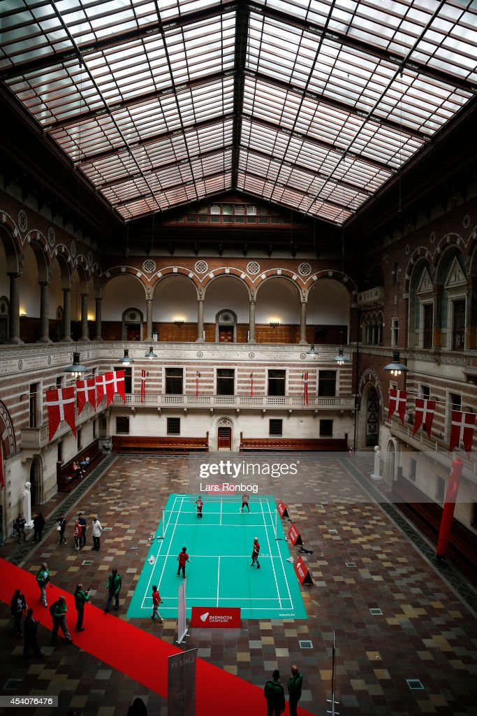 A test badminton court is set up inside the City Hall prior to the Opening Ceremony at the Copenhagen City Hall the day before the start of the Li-Ning BWF World Badminton Championships on August 24, 2014 in Copenhagen, Denmark.