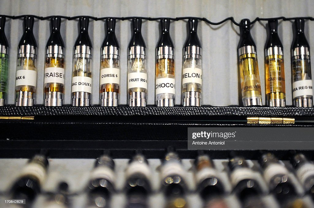 Test cartridges of electronic cigarettes sit on display at a store on June 19, 2013 in Paris, France. French Social Affairs and Health Minister Marisol Touraine announced the government's intention to ban the electronic cigarette in public places and for smokers under 18 years.