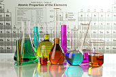 Test glass flasks and tubes with colored solutions on the periodic table of elements. Laboratory glassware. Science chemistry and research concept. 3d illustration All textures were created me in Adob
