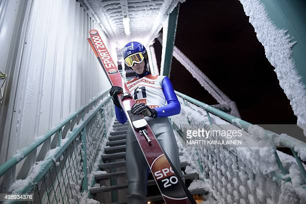 Test jumper Sebastian Klinga of Finland comes down after the start of Ski Jumping Large Hill HS142 Individual practice round which was postponed due...