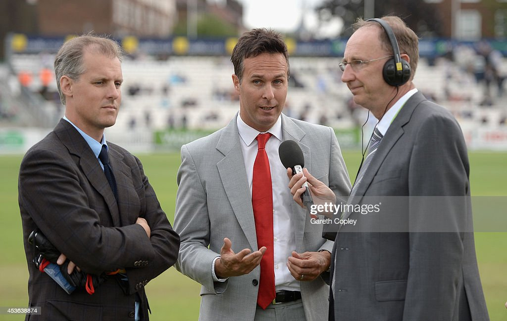 Test Match Special commentators Ed Smith Jonathan Agnew and Michael Vaughan during day one of 5th Investec Test match between England and India at...