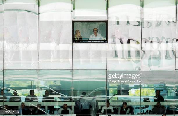 Test Match Special commentators Phil Tufnell and Jonathan Agnew seen through the only window that can be opened in the Lord's Media Centre during the...