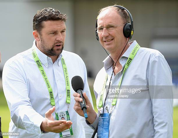 Test Match Special commentators Stephen Harmison and Jonathan Agnew ahead of day one of 4th Investec Test match between England and India at Old...