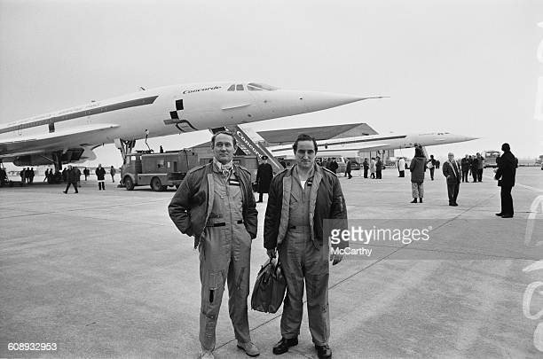 Test pilots John Cochrane and Brian Trubshaw with the supersonic airliner Concorde at RAF Fairford in Gloucestershire UK 17th December 1971