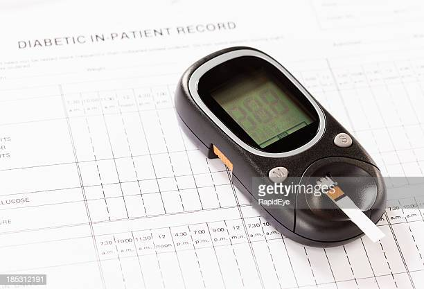 Test strip in glucometer measuring diabetic blood sugar