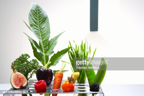 Test tube holder with different vegetables and fruits, studio shot : Stock-Foto
