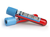 Blood test tubes. Blood samples  isolated on white. 3d illustration