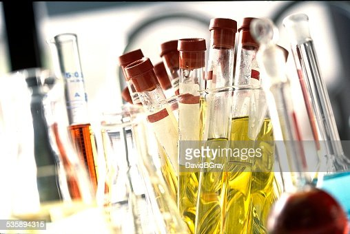 Test tubes in laboratory for medical research, testing. : Stock Photo