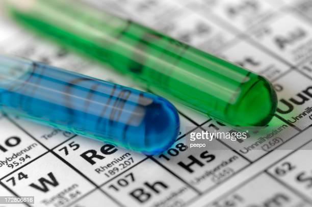 Reagenzgläser liegen auf Periodensystem der Elemente