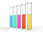 3d rendering test tubes with colourful liquid on white background