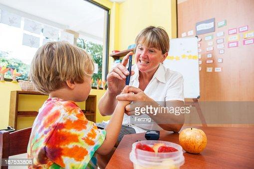 Testing blood sugar at school