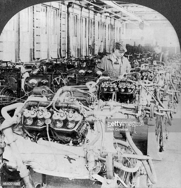 Testing engines in an automobile factory Detroit Michigan USA 20th century Stereoscopic card Detail