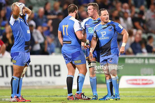 Tetera Faulkner Francois van Wyk Angus Cottrell and Heath Tessmann of the Force look on after being defeated during the round seven Super Rugby match...