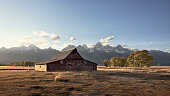 Old  barns in Grand Teton National Park in Jackson, Wyoming.