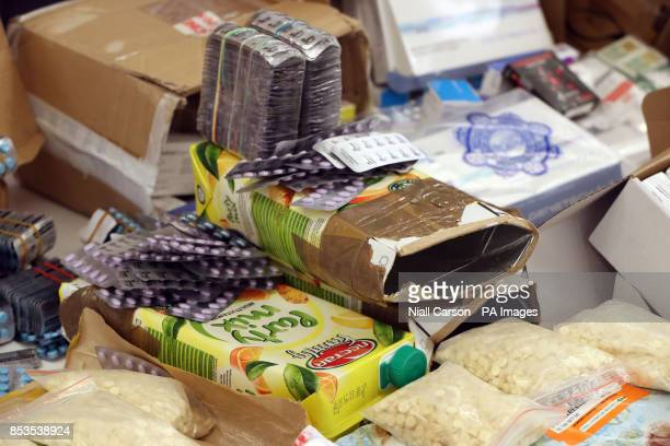 Tetra packs used to smuggle illegal medicines into Ireland on display at the Health Products Regulatory Authority Headquarters in Dublin after a...