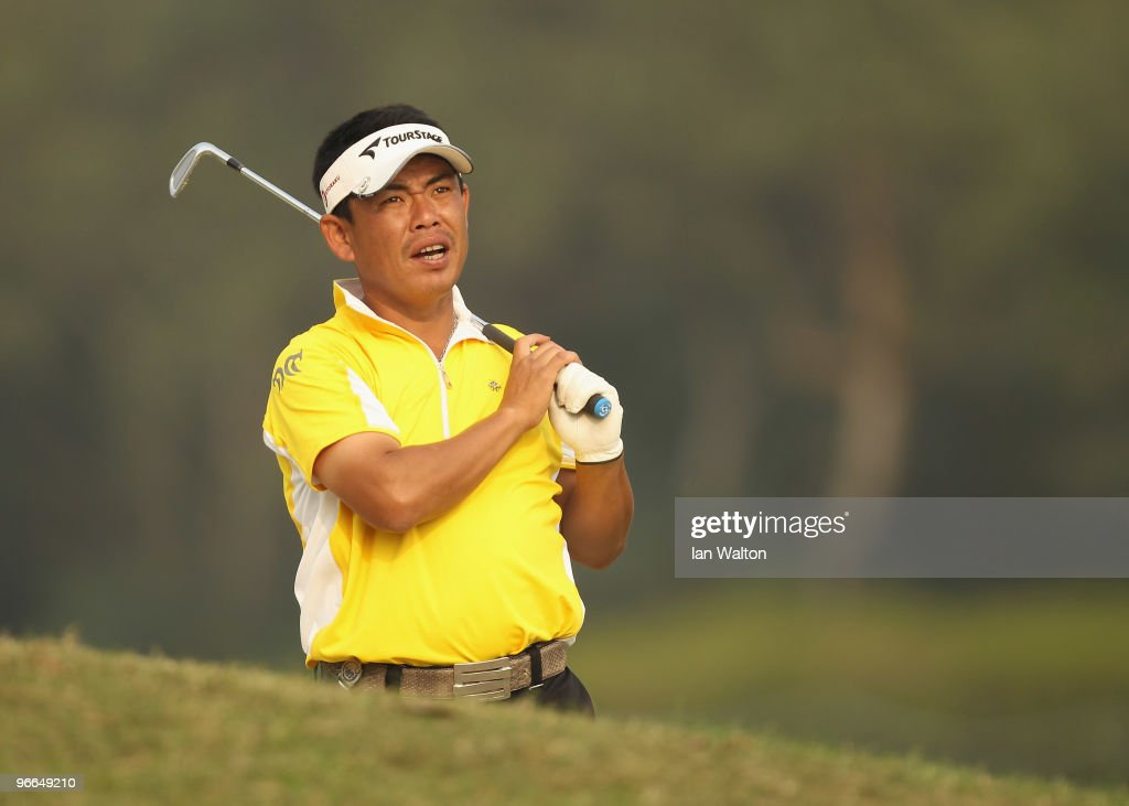 Tetsuji Hiratsuka of Japan in action during Round Three of the Avantha Masters held at The DLF Golf and Country Club on February 13 2010 in New Delhi...