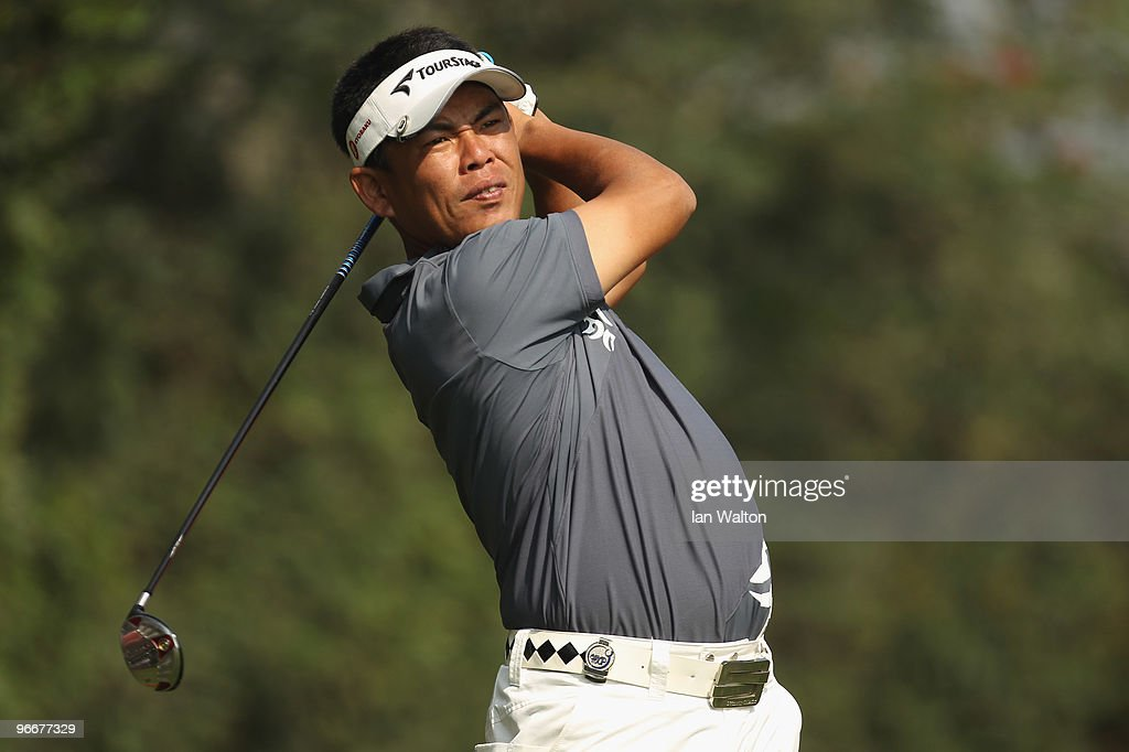 Tetsuji Hiratsuka of Japan plays a shot during the Final Round of the Avantha Masters held at The DLF Golf and Country Club on February 14 2010 in...