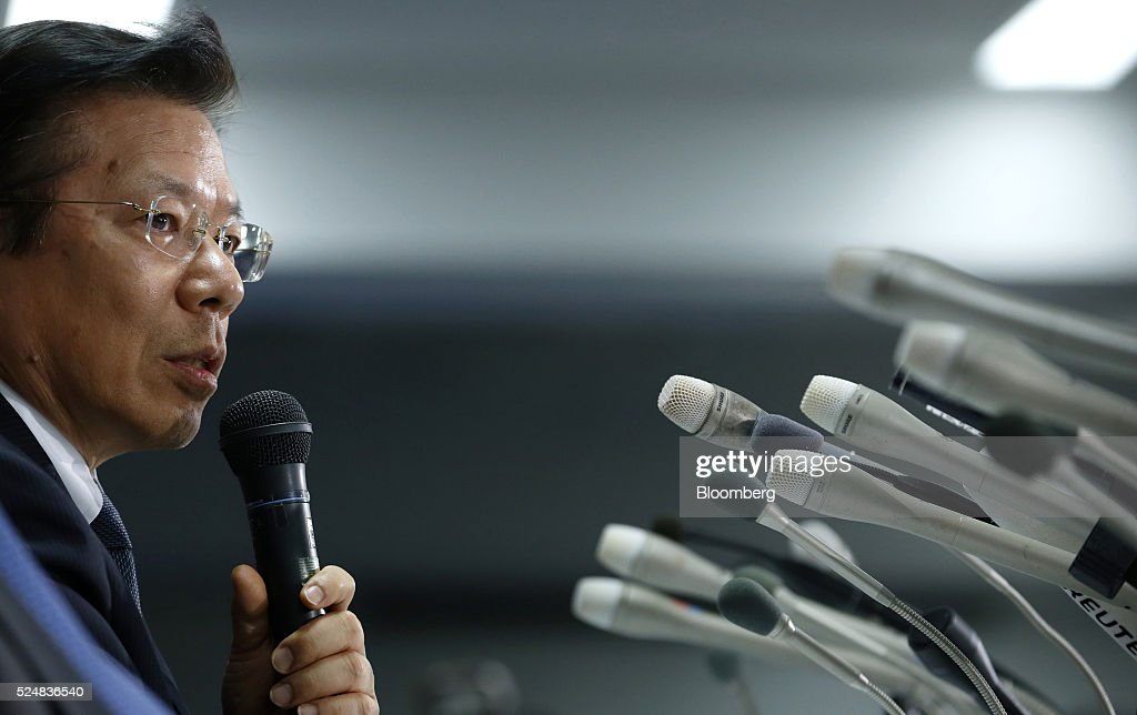 Tetsuro Aikawa president and chief operating officer of Mitsubishi Motors Corp speaks during a news conference in Tokyo Japan on Wednesday April 27...