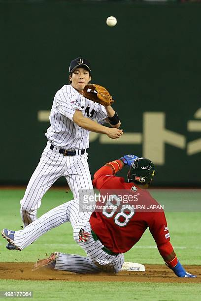 Tetsuto Yamada of Japan in action during the WBSC Premier 12 third place play off match between Japan and Mexico at the Tokyo Dome on November 21...