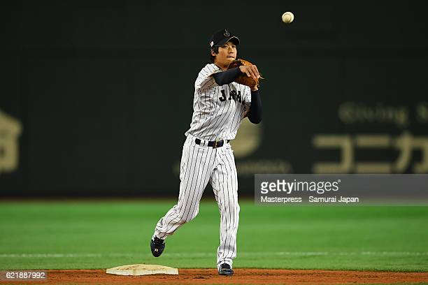 Tetsuto Yamada of SAMURAI JAPAN in action during the Japan national baseball team practice session at the Tokyo Dome on November 9 2016 in Tokyo Japan