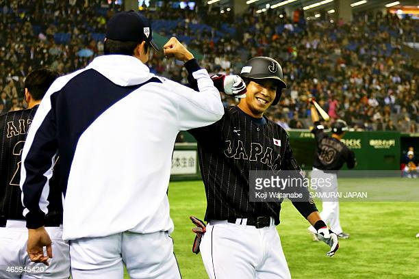 Tetsuto Yamada of Samurai Japan in the six inning home run celebrates after the Samurai Japan v All Euro match at the Tokyo Dome on March 11 2015 in...