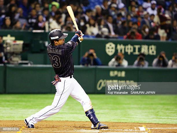 Tetsuto Yamada of Samurai Japan in the six inning home run during Samurai Japan v All Euro match at the Tokyo Dome on March 11 2015 in Tokyo Japan