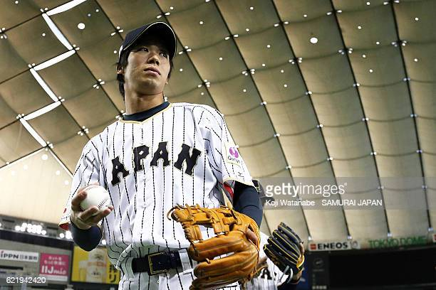 Tetsuto Yamada of Samurai Japan looks on during the Japan national baseball team practice session at the Tokyo Dome on November 9 2016 in Tokyo Japan