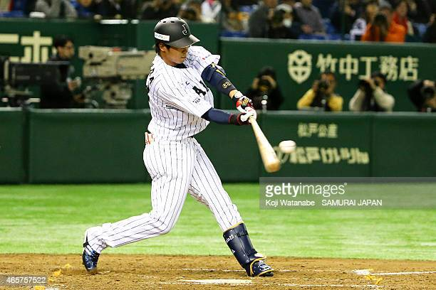 Tetsuto Yamada of Samurai Japan strikes a timely Twobase hit in the fourth inning during Samurai Japan v All Euro match at the Tokyo Dome on March 10...