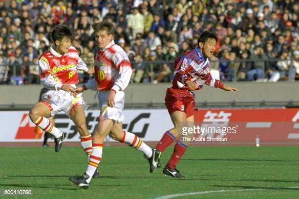 Tetsuya Asano of Nagoya Grampus Eight scores his side's third goal during the 75th Emperor's Cup semi final between Kashima Antlers and Nagoya...