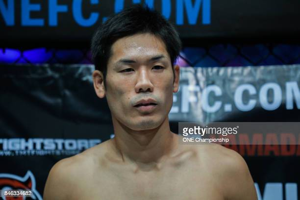 Tetsuya Yamada prepares for his bout against Kyle Rozewski during ONE Championship Shanghai at the Shanghai Oriental Sports Center on September 02...