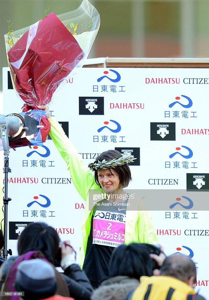 Tetyana Gamera-Shmyrko of Ukraine poses for photographs after the 32nd Osaka International Women's Marathon at Nagai Stadium on January 27, 2013 in Osaka, Japan.