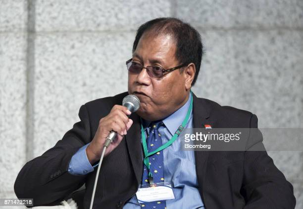 Teuea Toatu Kiribati's minister of finance and economic development speaks during a panel discussion at an event marking the 20th anniversary of the...