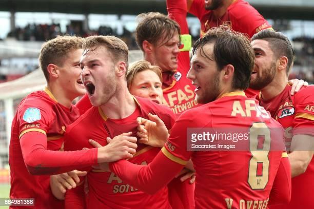 Teun Koopmeiners of AZ Alkmaar celebrates 10 with Guus Til of AZ Alkmaar Wout Weghorst of AZ Alkmaar Jonas Svensson of AZ Alkmaar Joris van Overeem...