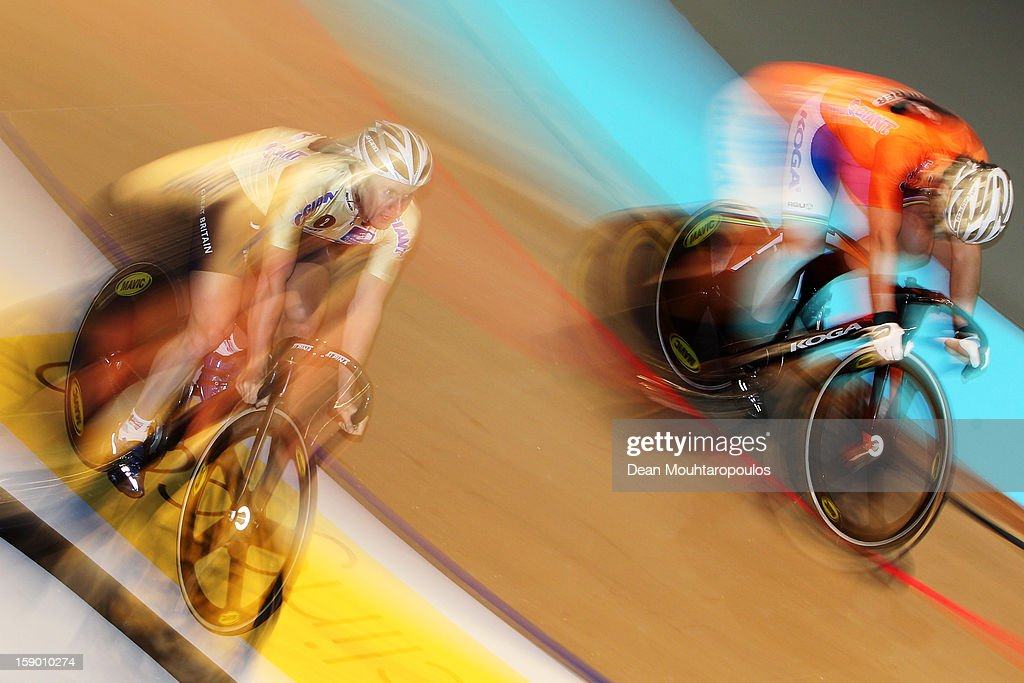 Teun Mulder (R) of Netherlands and Jason Kenny (L) of Great Britain compete in the Giant Sprint Masters during the Rotterdam 6 Day Cycling at Ahoy Rotterdam on January 5, 2013 in Rotterdam, Netherlands.