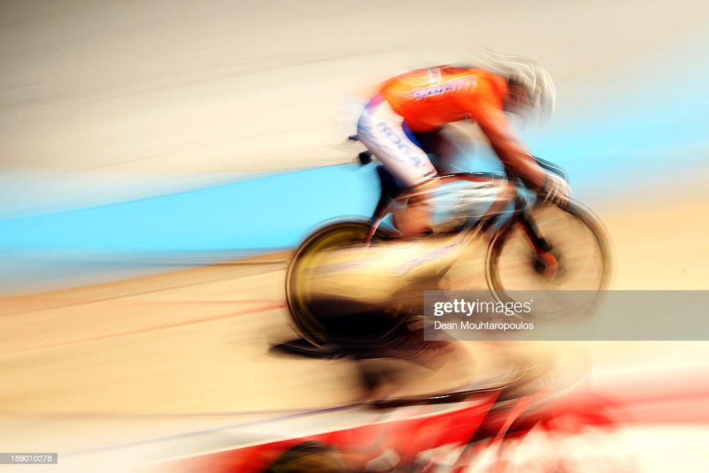Teun Mulder of Netherlands competes in the Giant Sprint Masters during the Rotterdam 6 Day Cycling at Ahoy Rotterdam on January 5, 2013 in Rotterdam, Netherlands.