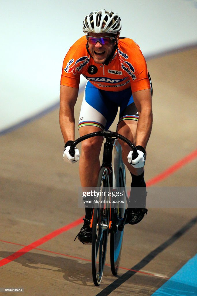 Teun Mulder of Netherlands competes in the Giant Sprint Masters during the Rotterdam 6 Day Cycling at Ahoy Rotterdam on January 6, 2013 in Rotterdam, Netherlands.