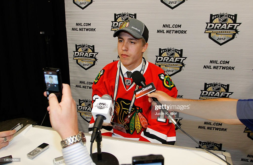 Teuvo Teravainen, 18th overall pick by the Chicago Blackhawks, speaks to media during Round One of the 2012 NHL Entry Draft at Consol Energy Center on June 22, 2012 in Pittsburgh, Pennsylvania.