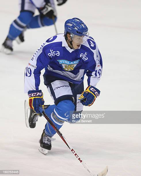 Teuvo Teravainen of Team Finland skates against Team USA at the USA hockey junior evaluation camp at the Lake Placid Olympic Center on August 8 2012...