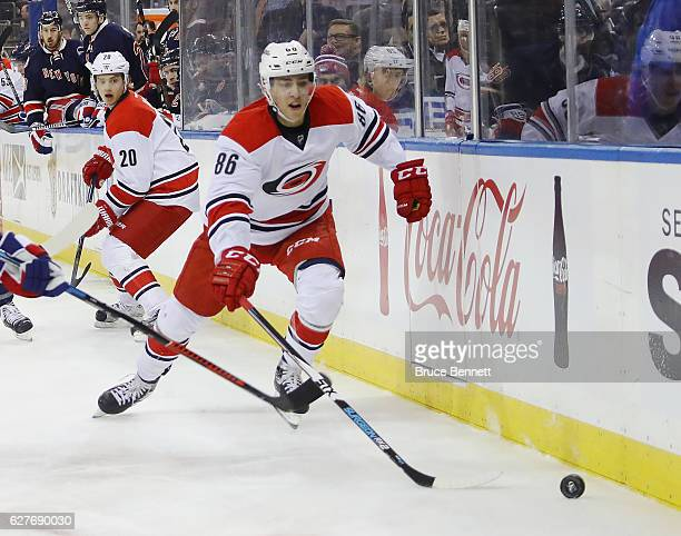Teuvo Teravainen of the Carolina Hurricanes skates against the New York Rangers at Madison Square Garden on December 3 2016 in New York City The...