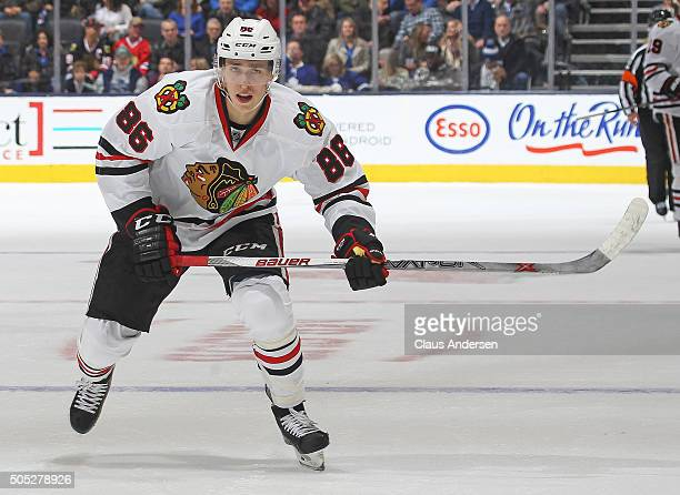 Teuvo Teravainen of the Chicago Black Hawks skates against the Toronto Maple Leafs during an NHL game at the Air Canada Centre on January 15 2016 in...