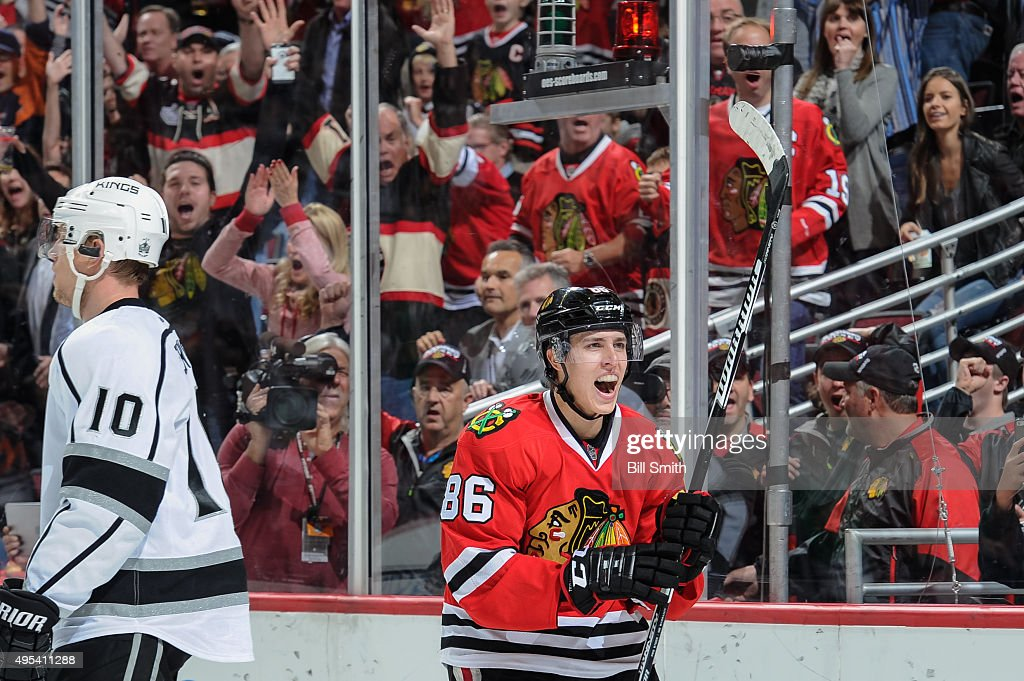Teuvo Teravainen #86 of the Chicago Blackhawks celebrates after scoring in the third period of the NHL game against the Los Angeles Kings at the United Center on November 2, 2015 in Chicago, Illinois.