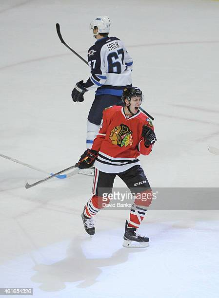 Teuvo Teravainen of the Chicago Blackhawks celebrates his first NHL goal against the Winnipeg Jets during the third period on January 16 2015 at the...